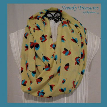 Infinity Scarf, Handmade, Gorgeous Bright Yellow,Turquoise & Red Highlights,#TrendyTreasuresByRamona