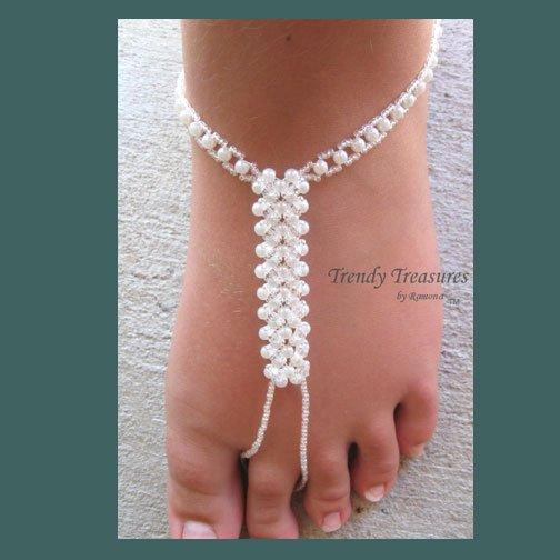 BareFoot Sandal,White Crystals, Ankle Bracelet, Beach, #TrendyTreasuresByRamona