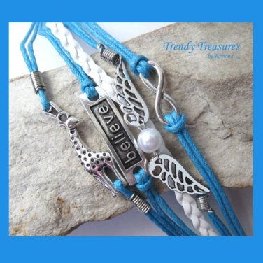 Blue Infinity Bracelet, Believe, Giraffe, Wings, Glass Pearl, #TrendyTreasuresByRamona