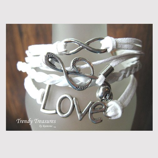 White Infinity Bracelet,Love word, Music Note, Skull, Silver, #TrendyTreasuresByRamona