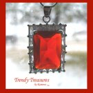 Bright Red Faceted Crystal Pendant,Prom,Sterling Silver Chain, Rhinestones