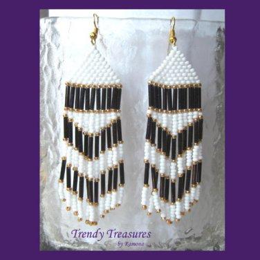 Purple, White, Beaded Dangle Earrings,Goldtone,Love Purple, #TrendyTreasuresByRamona