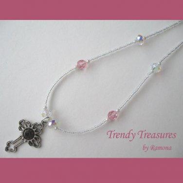 Vintage Cross Pendant Necklace,Earrings,Pink Rhinestones,Clear Crystals, Artisan Design
