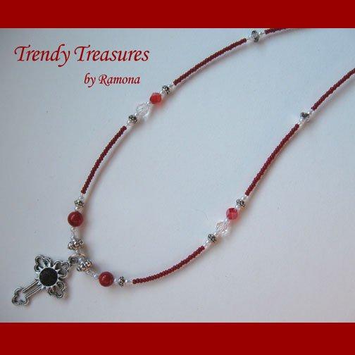Vintage Cross Pendant Necklace,Red Rhinestones,Clear Crystals, Artisan Design