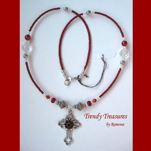 Vintage Cross Pendant Necklace,Red Rhinestones,Clear Crystals, Artisan Design