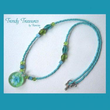 Green Flower Glass Pendant on Beaded Necklace, Crystals, #TrendyTreasuresByRamona