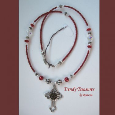 Vintage Cross Pendant Necklace,Red Rhinestones,Clear & Red Crystals, Artisan Design