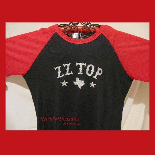 Z Z Top Logo, Bling Glitter Embellished  Burnout Style T-shirt, New