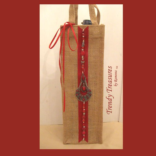 Wine Gift Bag, Hand-decorated, Red Jewels, Heavy-duty Jute, Strong Handles