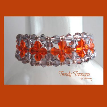 Purple and Orange Crystals Woven Bracelet,Mother's Day Special Price,#TrendyTreasuresByRamona