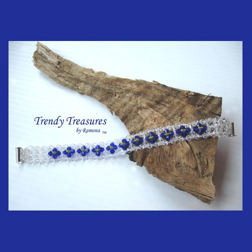 Clear and Bright Blue Crystals Woven Bracelet,One-of-a-Kind,#TrendyTreasuresByRamona