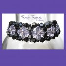 Black & Purple Crystals Woven Bracelet,One-of-a-Kind,#TrendyTreasuresByRamona