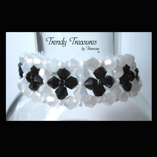 Opaque White and Black Crystals Woven Bracelet,One-of-a-Kind,#TrendyTreasuresByRamona