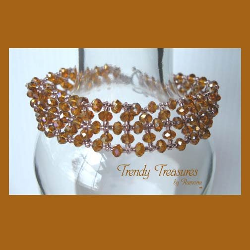 Lacy Gold & Light Purple Crystals Woven Bracelet,One-of-a-Kind,#TrendyTreasuresByRamona