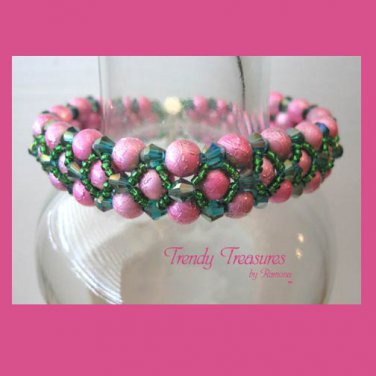 Hot Pink Pearls & Crystals Woven Bracelet,Mother's Day Special,#TrendyTreasuresByRamona