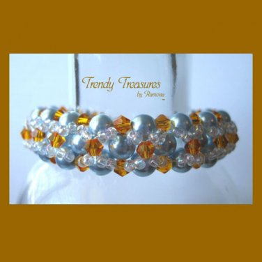 Aqua Pearls & Gold Crystals Woven Bracelet, One-of-a-Kind,#TrendyTreasuresByRamona