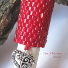 Large Bright Red, Dreadlock Bead, Dread Sleeve, Heart Charm, #TrendyTreasuresByRamona