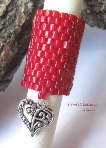 Large Bright Red, Dreadlock Bead, Dread Sleeve, Heart Charm, #TrendyTreasuresByRamona