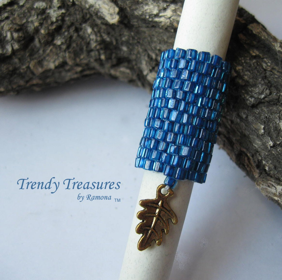 Large Bright Blue, Dreadlock Bead, Dread Sleeve, Leaf Charm, #TrendyTreasuresByRamona