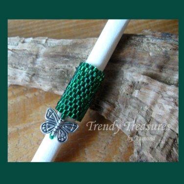 Emerald Green, Dreadlock Sleeve, Dread Bead, Charm Dangle, #TrendyTreasuresByRamona