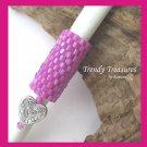 Turquoise-lined Pink Dreadlock Sleeve, Dread Bead, Braid Bead,Butterfly#TrendyTreasuresByRamona