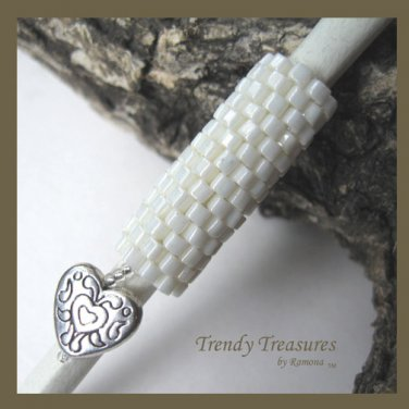 Iridescent Creamy White, Dreadlock Sleeve, Dread Bead, Heart Charm Dangle, #TrendyTreasuresByRamona
