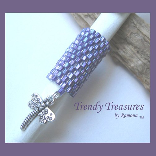 Iridescent Purple Dreadlock Bead, Dragonfly Charm, Dread Sleeve, #TrendyTreasuresByRamona