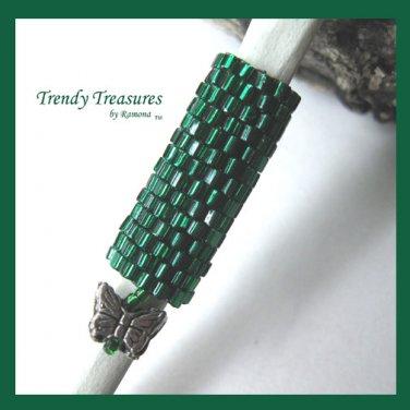 Small Emerald Green Dreadlock Sleeve, Dread Bead, Butterfly Charm, #TrendyTreasuresByRamona