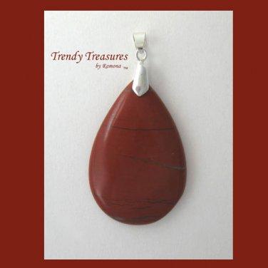 Flame Jasper Teardrop Pendant,Artisan Crafted,Make Necklace,#TrendyTreasuresByRamona