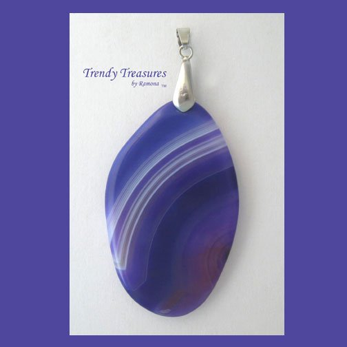 Purple Onyx Agate Pendant Polished Oval Gemstone, #TrendyTreasuresByRamona