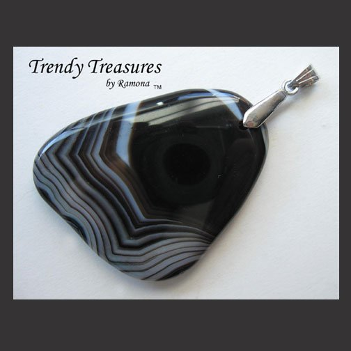 Black Onyx Agate Pendant Polished Gemstone Necklace, #TrendyTreasuresByRamona