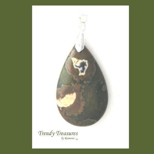 Ryolite Rainforest Jasper Teardrop Pendant, Polished Gemstone, #TrendyTreasuresByRamona