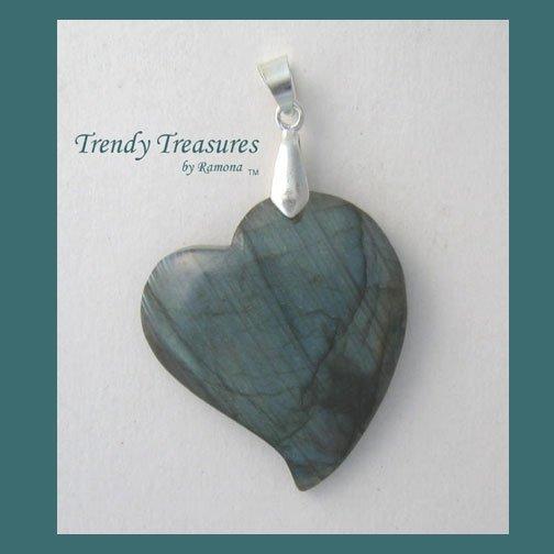 Natural Labradorite Tilted Heart Pendant Gemstone Bead,#TrendyTreasuresByRamona