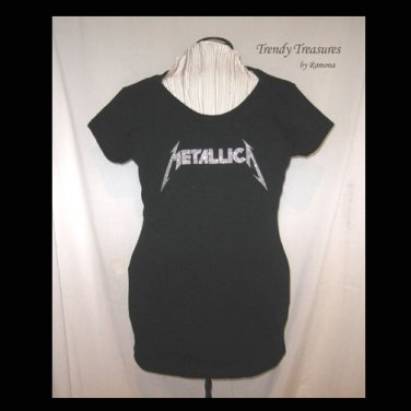 Metallica Logo, Bling Glitter Embellished T-shirt, New