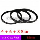 55mm Star Filter Cross 4 + 6 + 8 Point Three Glass Combo