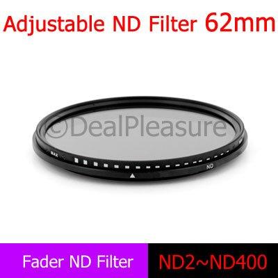 62mm Fader Neutral Density Filter Adjustable (ND2 to ND400)