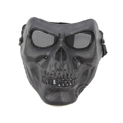Death Skull Bone Airsoft Full Face Mask -Black- Protective Military Game