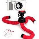 "Flexible Gripping Mini Tripod 1/4"" Tripod Bolt for Sony Canon Nikon M 1/4 - Color Red"