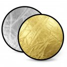 "24"" 60cm 2-in-1 Studio Light Reflector Golden & Silver Collapsible Disc Circular"