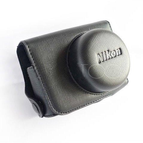 PU Leather Case Bag Cover for Nikon J1 J2 10mm Lens (Black)