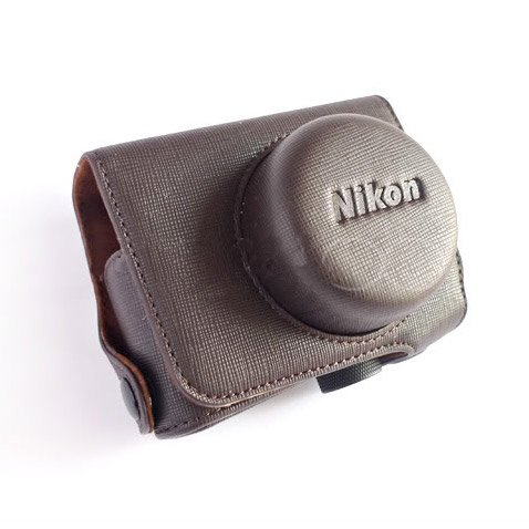 PU Leather Case Bag Cover for Nikon J1 J2 10mm Lens (Brown)
