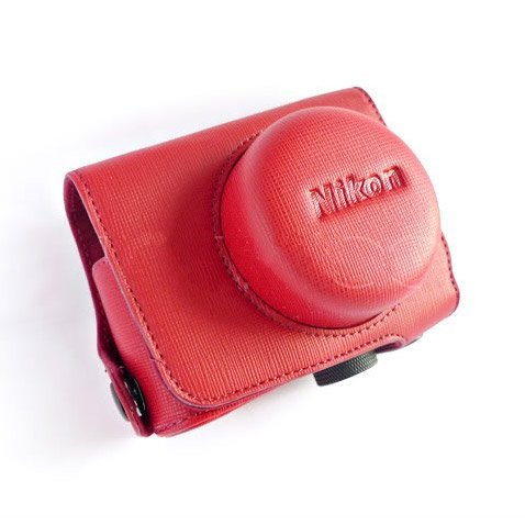 PU Leather Case Bag Cover for Nikon J1 J2 10mm Lens (Color Red)