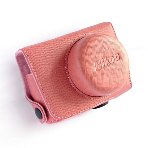 PU Leather Case Bag Cover for Nikon J1 J2 10mm Lens (Color Pink)