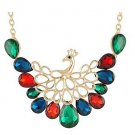 Women's Royal Colorful Diamond Peacock Necklace