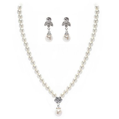 Ivory Pearl Ladies Necklace and Earrings Jewelry Set Two Piece Elegant (38 cm)