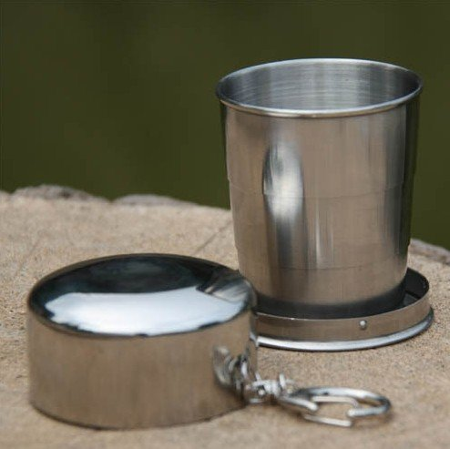 Portable Metallic Telescopic Drink Cup Foldable for Home Outdoor Sports Hiking (M)