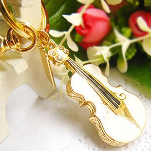 64GB Violin Shape USB Flash Drive Memory Stick Key Ring Gift Gadget - White -