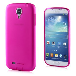 Transparent Color Case for Samsung S4 I9500 Slim Protective Shell Cover + Dust Proof - Pink