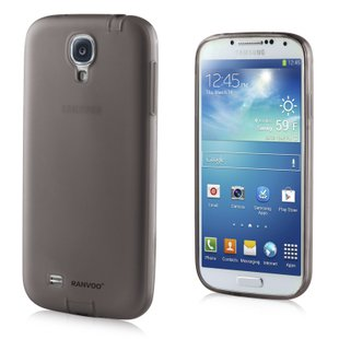 Transparent Color Case for Samsung S4 I9500 Slim Protective Shell Cover + Dust Proof - Black