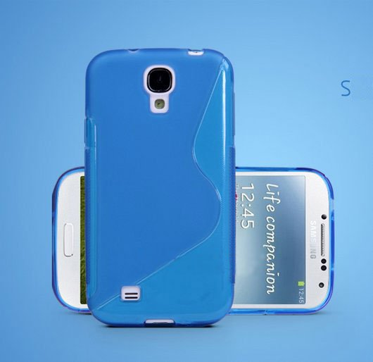 TPU Color Case for Samsung S4 I9500 Slim Protective Shell Cover + S Grain - Blue